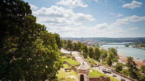 Belgrade daytime time lapse with river Sava from kalamegdan. Smooth pan. Belgrade Serbia