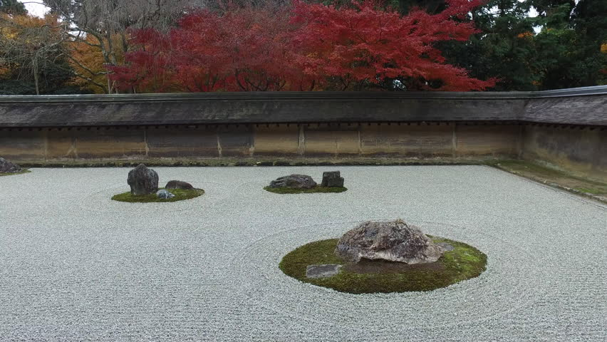 The famous dry landscape rock garden at Ryoanji (or Ry?an-ji), a Zen Buddhist temple in Kyoto, Japan. It is a UNESCO World Heritage Site.