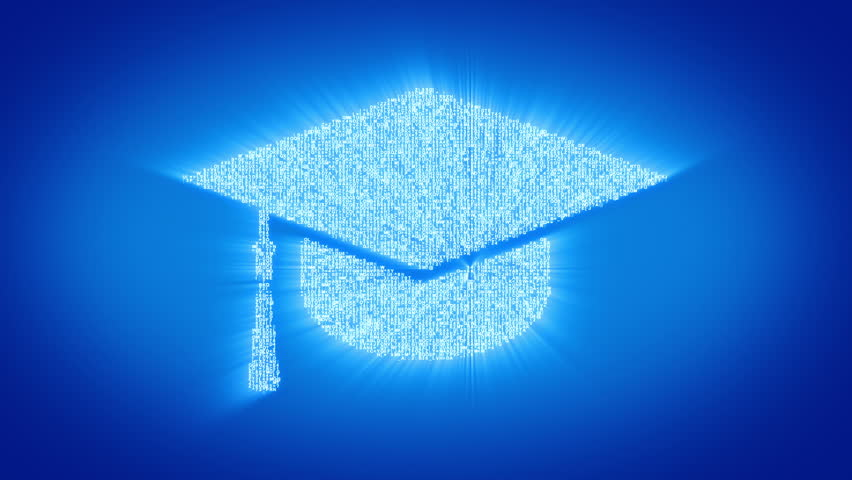 Numbers and symbols form the graduation cap symbol on blue background. More symbols, signs, icons and color backgrounds available - check my portfolio.