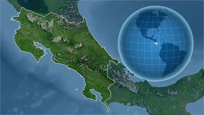 Croatia Shape Animated On The Satellite Map Of The Globe Stock - Map of the globe