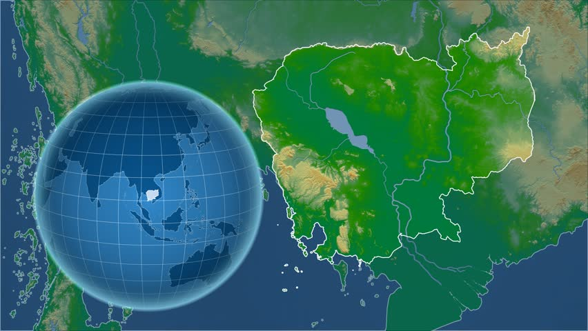 Jamaica Shape Animated On The Physical Map Of The Globe Stock - Physical map of jamaica