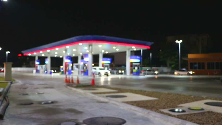 The Lighting Blurred in Gas station at night   | Shutterstock HD Video #14135972