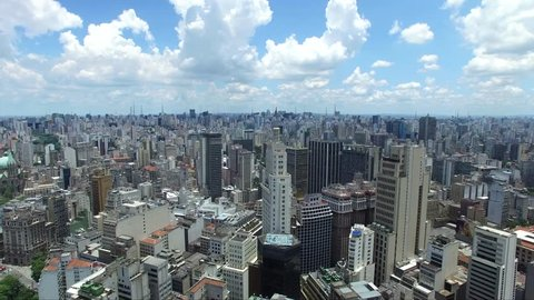 Aerial view of Sao Paulo skyscraper in Brazil