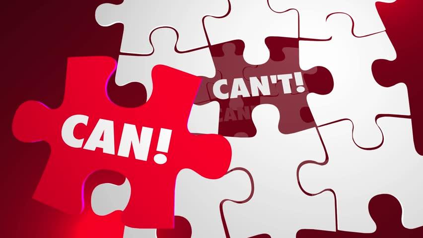 Can Vs Cant Puzzle Pieces Positive Attitude Determination
