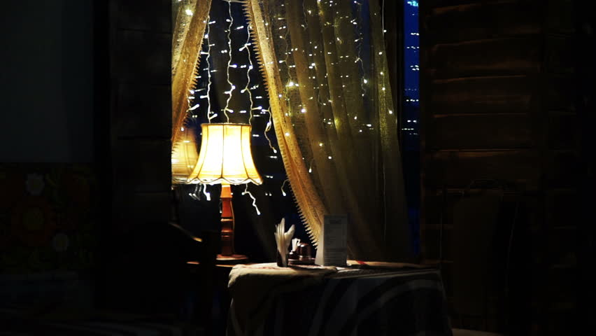 Table for two in love with a beautiful lamp. | Shutterstock HD Video #14159402
