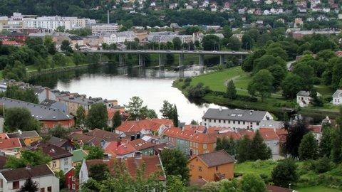 TRONDHEIM, NORWAY – JUNE 26, 2013: View to the Trondheim city from Kristiansten fortress in Trondheim, Norway.