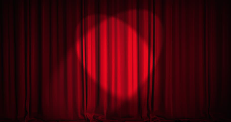 A red velvet curtain opening with spotlights in a movie theater. An alpha matte is included as well. High quality render in 4K format.