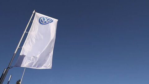 MOERS / GERMANY - JANUARY 28 2016 : Volkswagen flag waving in the wind