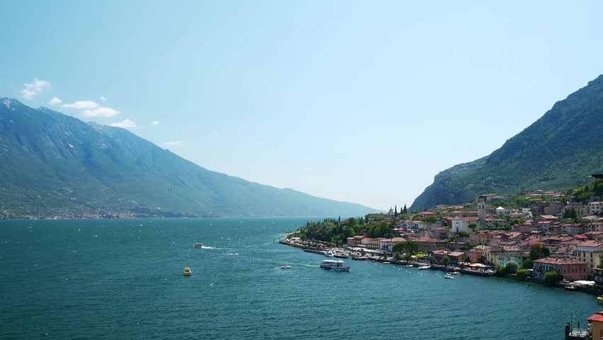 Beautiful view to the Limone Sul Garda and Lago di Garda lake, Northern Italian.