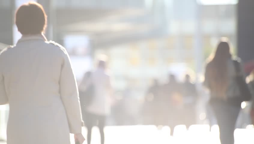 Defocused business people walking on the street at sunset | Shutterstock HD Video #14196842