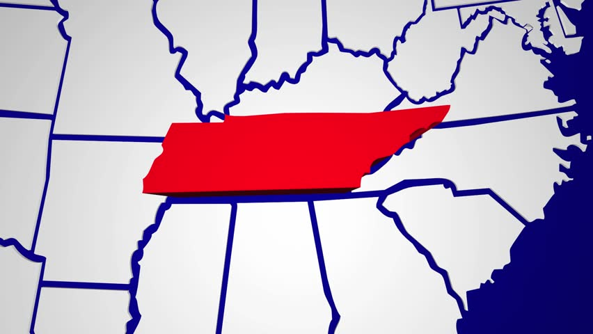 Tennessee Tn Animated State Map Usa Zoom Close Up Hd Stock Video Clip