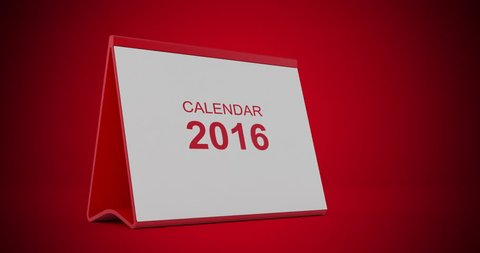 A monthly 2016 calendar sitting on a red background. The calendar is red in colour. Pages start to flip from left bottom corner and fly away after tearing. High quality render in 4K resolution.