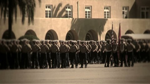 MCRD San Diego, CA - Marching (right to left of frame)