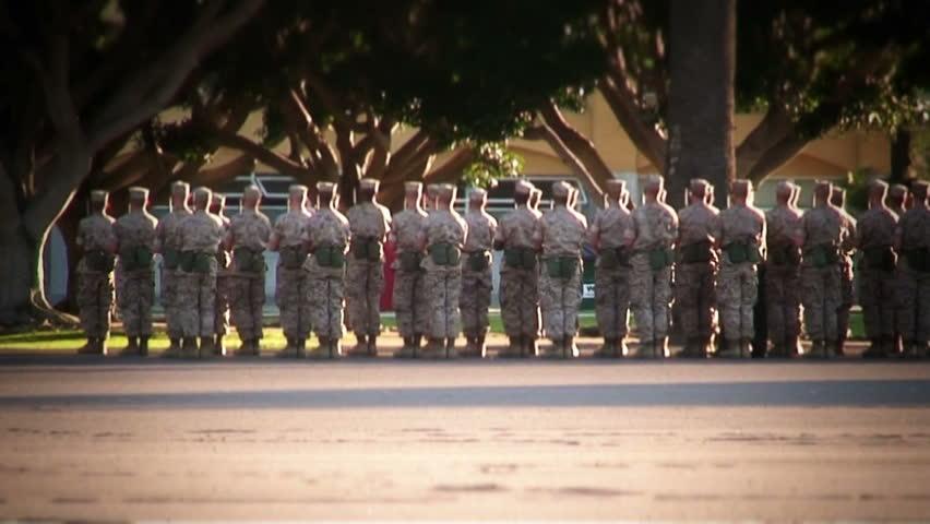 Marines practicing drill (MCRD San Diego)