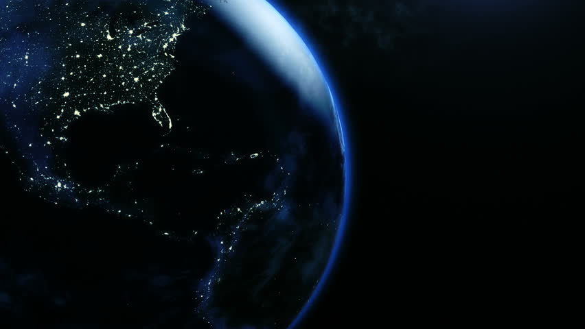 Animation of planet earth in rotatint at night in 4k | Shutterstock HD Video #14273312