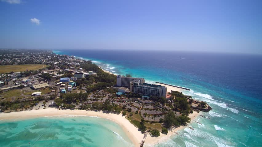 Aerial Island view of tropical Beach coastline of Barbados in the Caribbean