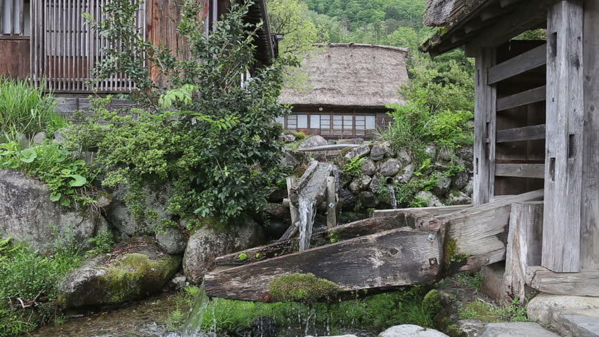 Charmant Japanese Zen Garden Water Flow In Shirakawago A Traditional Village In Gifu  Prefecture, Japan. It Is A UNESCO World Heritage Site.