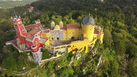 Aerial Pena National Palace Romanticist Sintra Famous Travel Dome Footage Drone Portugal Historic Lisbon Architecture Europe Gothic 4K Trees Time-Lapse