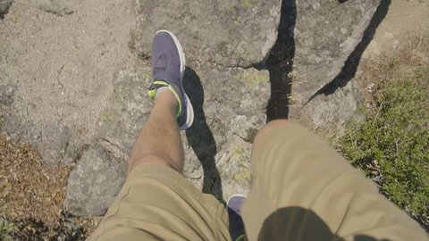 Footage Man Walking On Rock Alps Low Section Tourist Hiking Adventurous Vacations Mountaineer Pov Travel Tourism Summer Sports Shoe