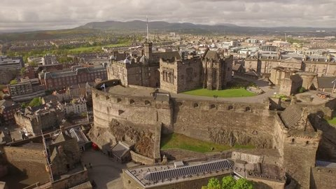 Aerial view over the city centre of Edinburgh, Scotland. Edinburgh Castle in the summer.