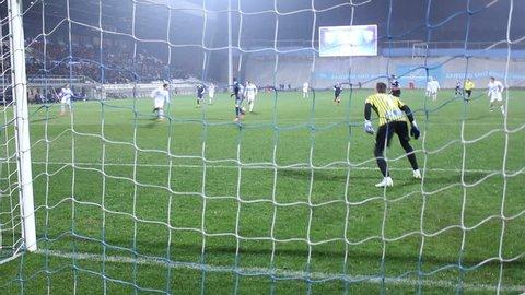 RIJEKA, CROATIA - JANUARY 30: soccer match between HNK Rijeka and ND Gorica (friendly match) 2016 in Rijeka, Croatia. Mario Gavranovic miss the goal.