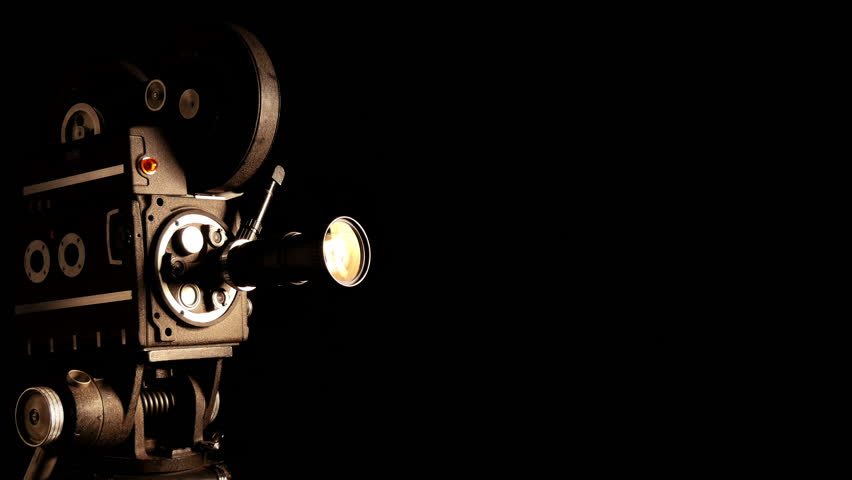 Vintage Hollywood Movie Camera In Front Of Black Backdrop Suitable For Tv Show Film