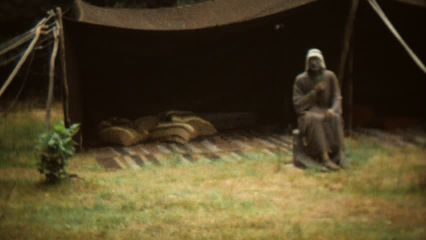 CIRCA 1968: Vintage 8mm film of statues in a garden