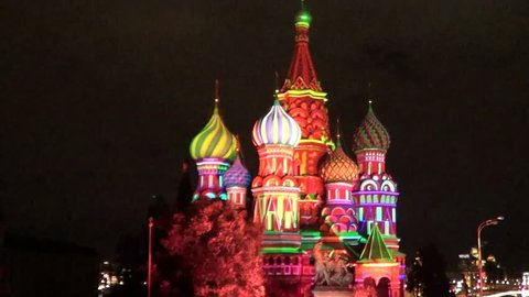Saint Basil's Intercession cathedral in Moscow illuminated at night.