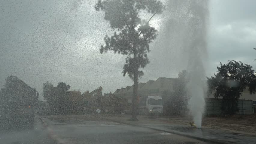Water burst in the street