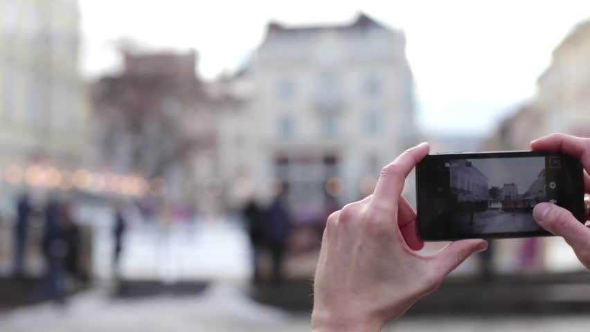 Man Photographing City Phone | Shutterstock HD Video #14449339