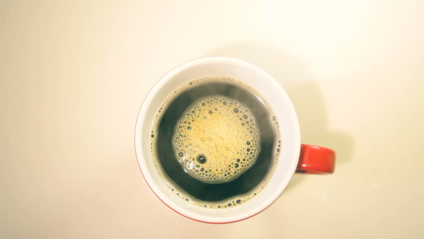 Cup of coffee on wooden table, top view  #14458018