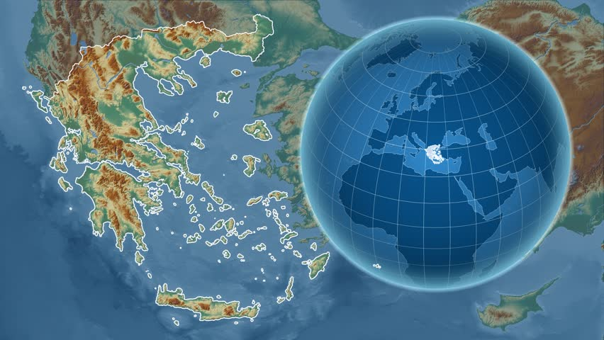 Relief Map Of The World.Greece Shape Animated On The Relief Map Of The Globe