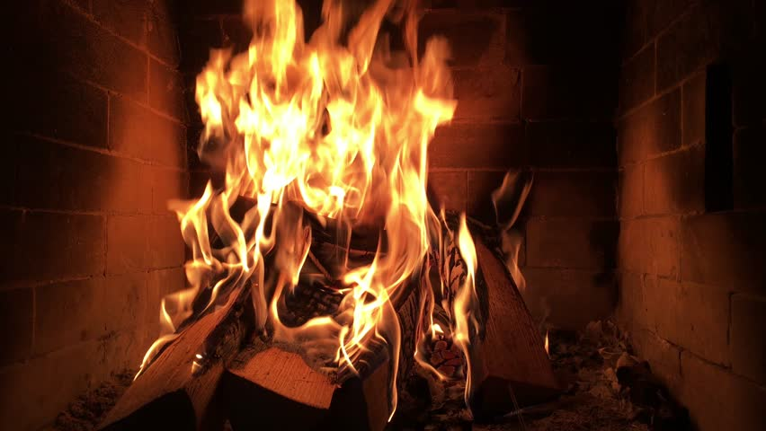 Slow Motion Of Fireplace Burning Warm Cozy Burning Fire In A