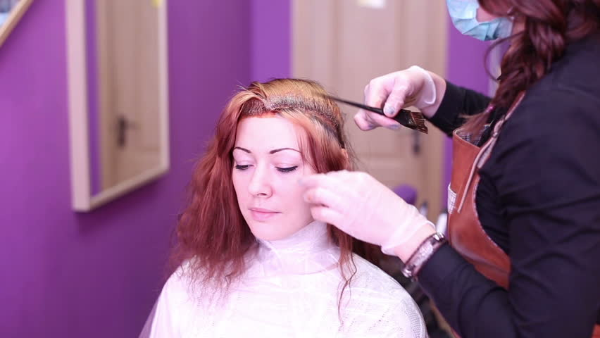 Hairdresser Coloring Hair Gloves Brush Stock Footage Video ...