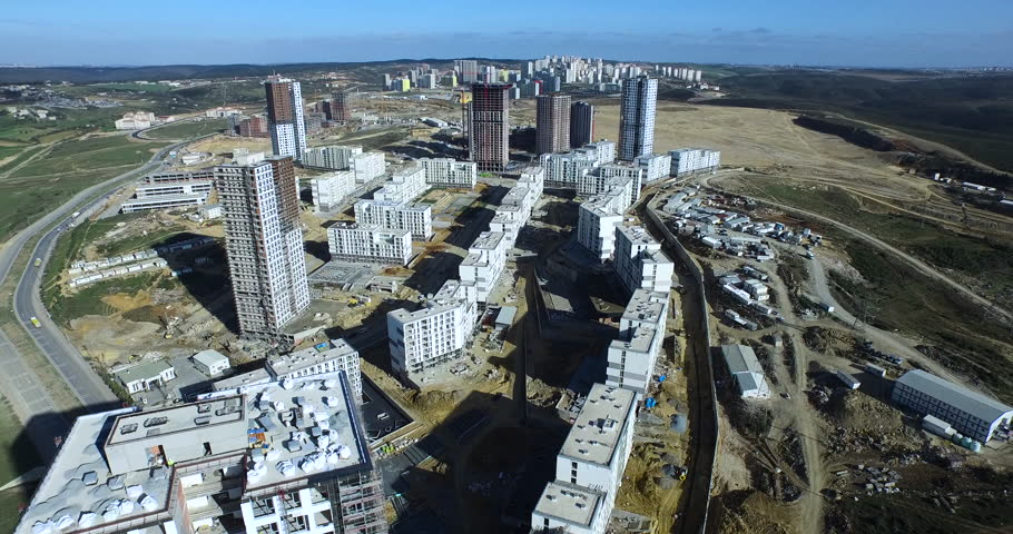 General Aerial Footage of a Construction Site from High Altitude #14512552