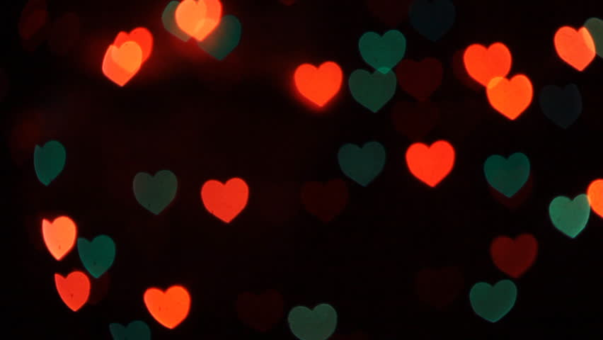 Bokeh Heart Shape Of Light Background Stock Footage Video: Flashing Hearts Move Up Light Background Stock Footage