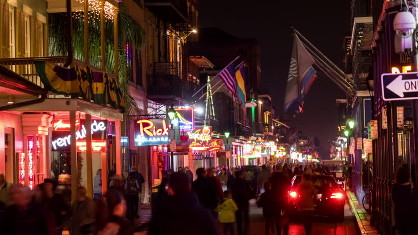 NEW ORLEANS - 31 JAN: Timelapse view of Bourbon Street from above. Bourbon Street is a popular entertainment area that attracts visitors from all over the world on 31 January 2014 in New Orleans, USA | Shutterstock HD Video #14568139