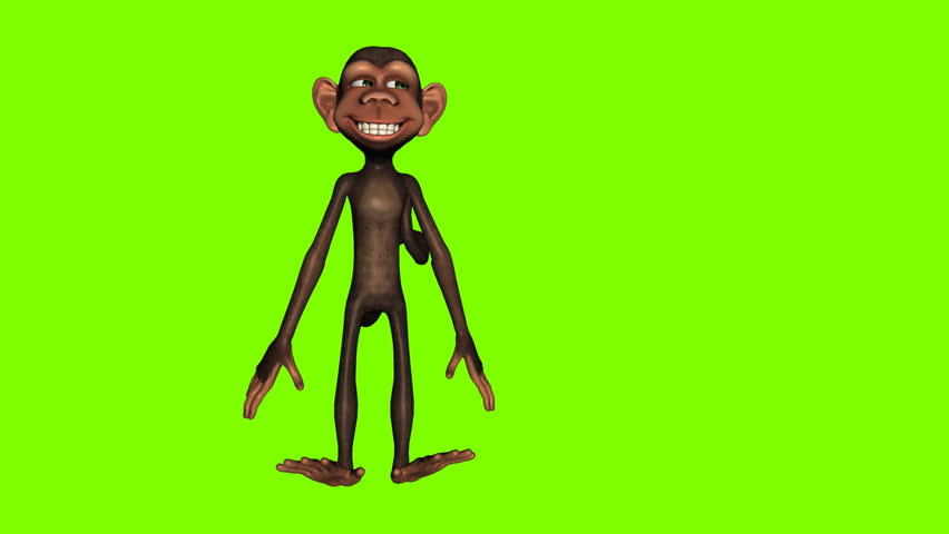 Funny cartoon monkey jumping against a green background. Seamless loop animation
