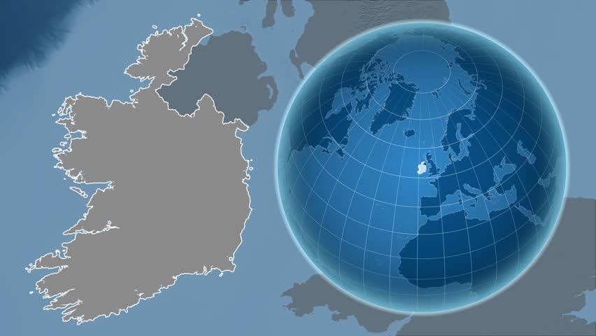 Ireland Shape Animated On The Physical Map Of The Globe Stock - Physical map of ireland
