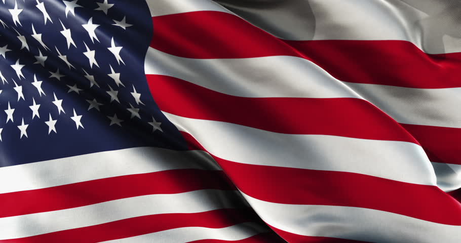 American Flag Waving With A Strong Wind Stock Footage ...