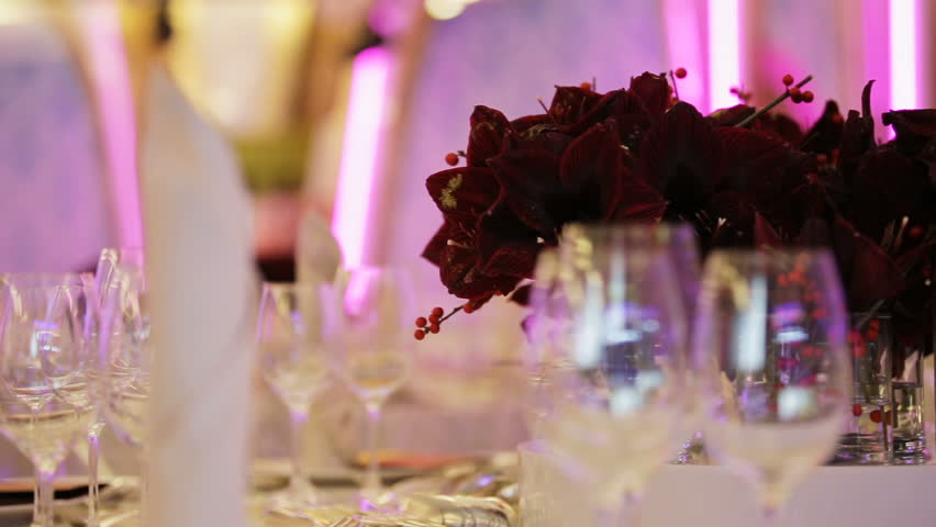 Festive Table Decoration Wedding BanquetInterior Of A Hall Ready For Guests