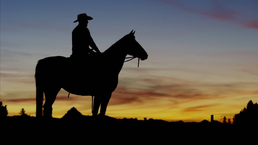 Silhouette of Cowboy Rider in sunrise wilderness area Canada #14712712