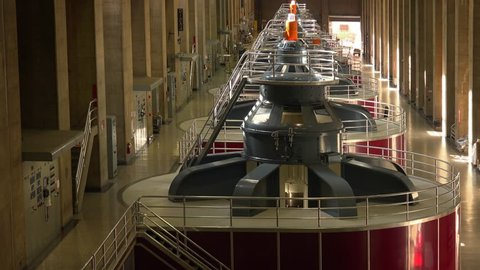 Huge Turbines Create Electricity at Hoover Dam