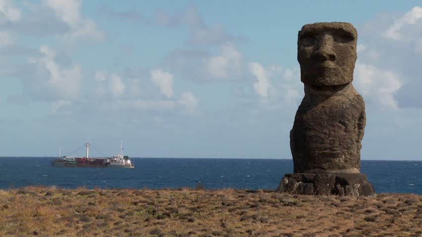 A ship off the coast of Easter Island.