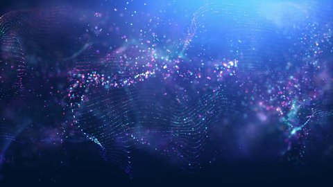 Royalty free stock footage & visuals with glowing pink, purple, white & blue bokeh orb shaped energy particle wave motion background. For LED installations, club visuals or creative editing projects