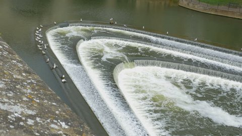 Weir in the river Avon in Bath, Somerset, England. Seagulls standing on the brink.