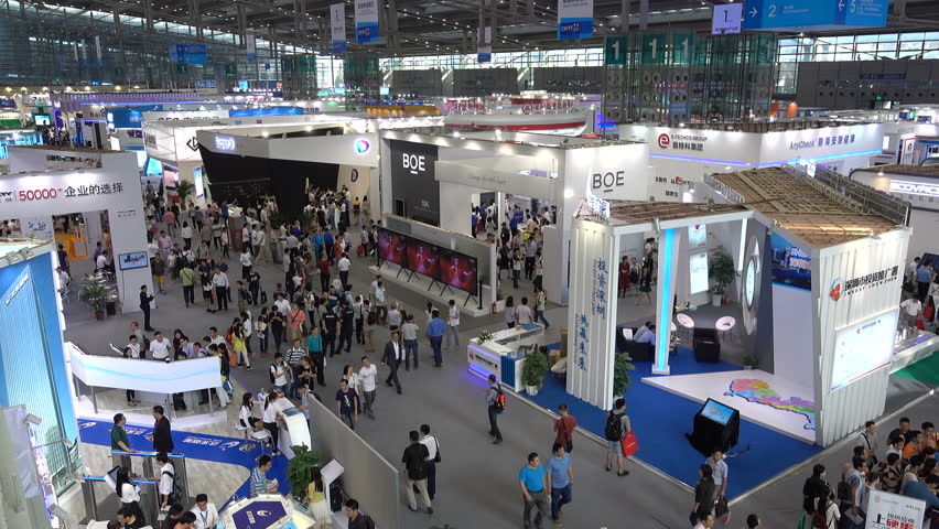 SHENZHEN, CHINA - 20 NOVEMBER 2015: Overview of a technology trade show in Shenzhen, China