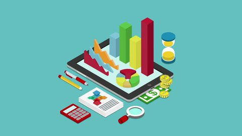 Business finance analytics report animated concept flat 3d isometric cartoon. Reveal chart graphic bargraph hourglass calculator money coins documents on tablet.