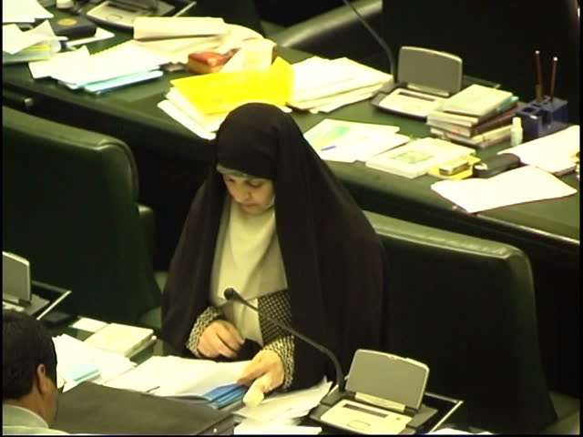 Parliament, Tehran, Iran - 2005 - Clip shows Iranian politician and MP, Mrs Rafat Bayat talking to her colleagues in Parliament.
