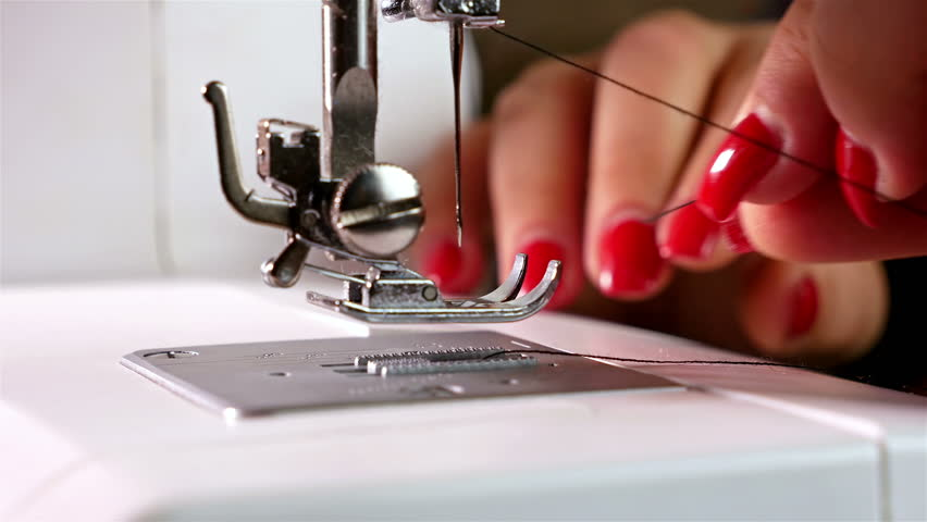 Female Hands Threading A Needle Stock Footage Video 40% Royalty Awesome Hand Sewing Machine